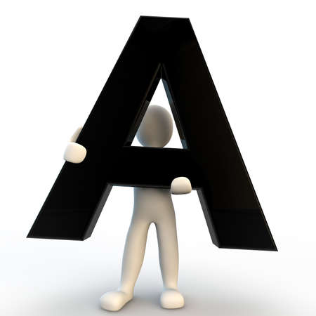 3D Human character holding black letter A, small people Stock Photo