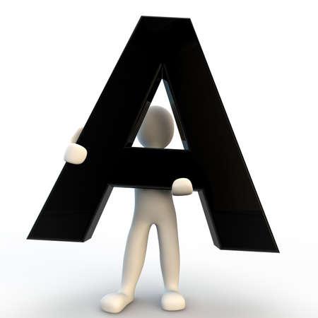 3D-menselijke karakter met zwarte letter A, kleine mensen Stockfoto