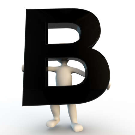 3D Human character holding black letter B, small people Stock Photo
