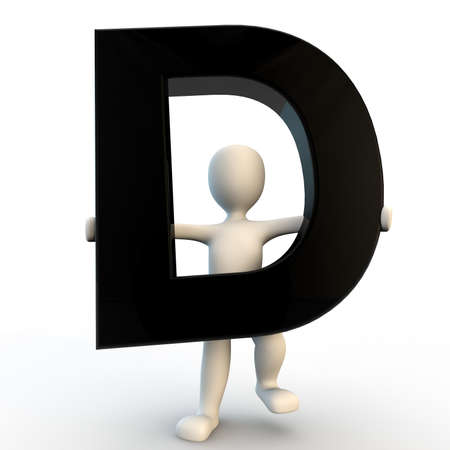 3D Human character holding black letter D, small people photo