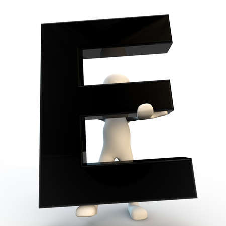 3D Human character holding black letter E, small people Stock Photo