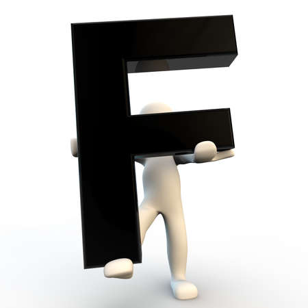 3D Human character holding black letter F, small people photo