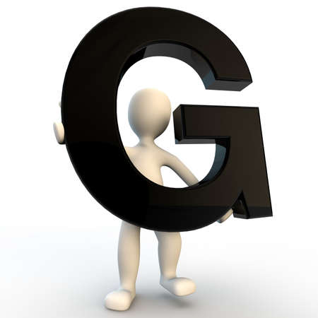 3D Human character holding black letter G, small people photo