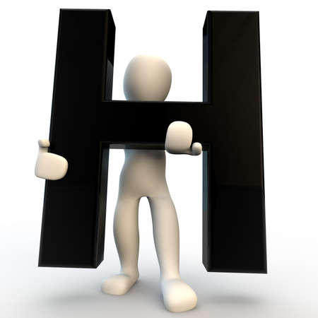 3D Human character holding black letter H, small people photo