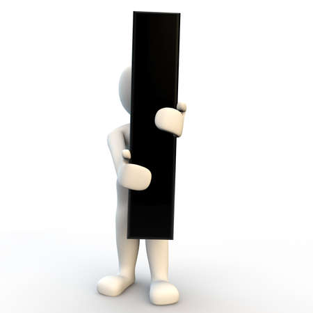man of letters: 3D Human character holding black letter I, small people