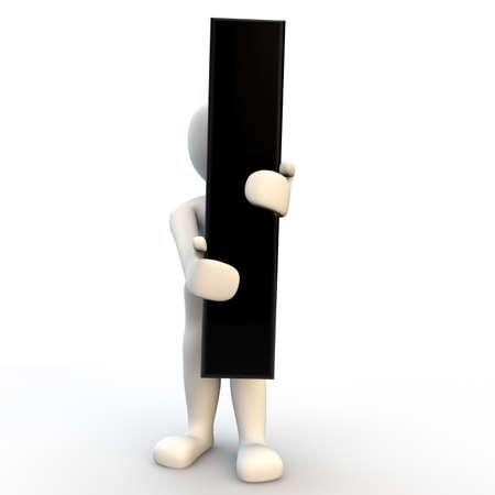 3D-menselijke karakter met zwarte letter I, kleine mensen Stockfoto