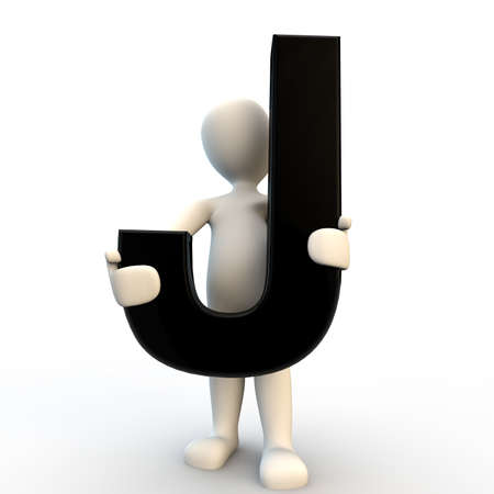3d human: 3D Human character holding black letter J, small people Stock Photo