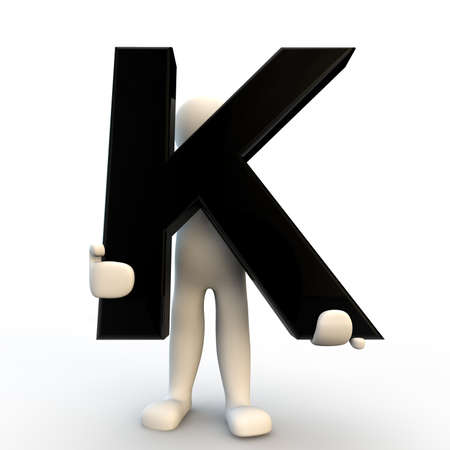 3D Human character holding black letter K, small people photo