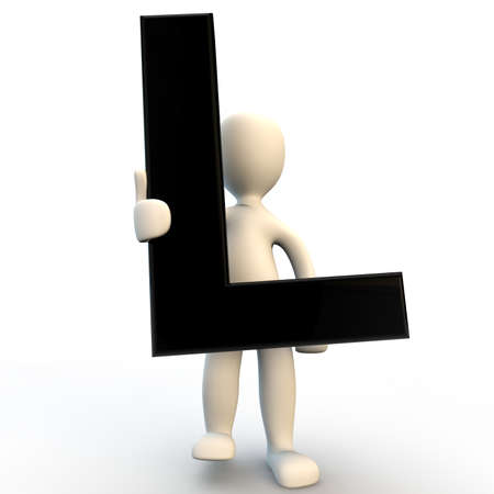 3D Human character holding black letter L, small people photo