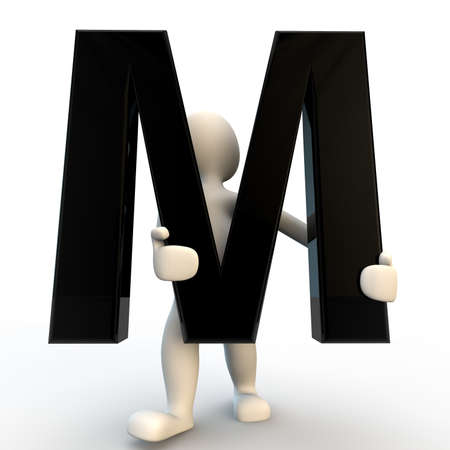 3D Human character holding black letter M, small people