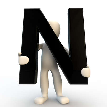 3D Human character holding black letter N, small people photo
