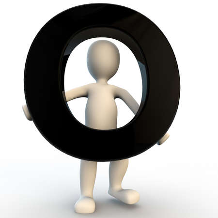 3D Human character holding black letter O, small people photo
