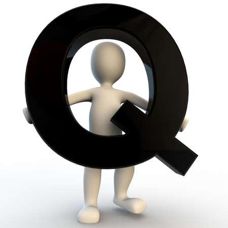 q: 3D carattere umano in possesso nero la lettera Q, piccolo popolo