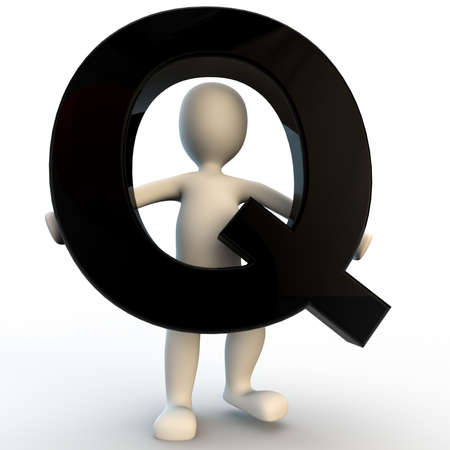 3D menselijk karakter met zwarte letter Q, kleine mensen