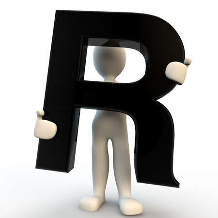 3D Human character holding black letter R, small people photo