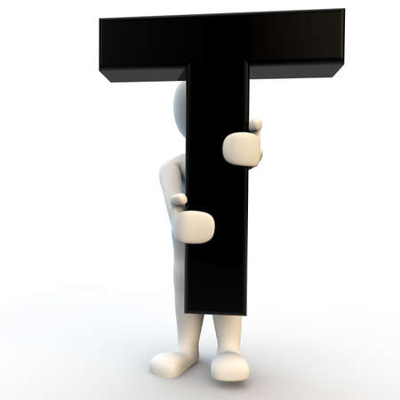3D Human character holding black letter T, small people photo