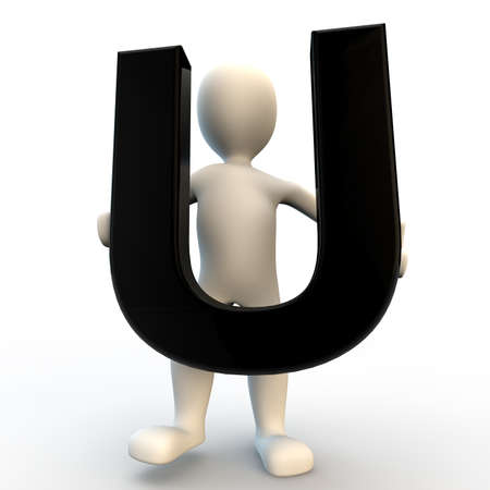 3D Human character holding black letter U, small people photo