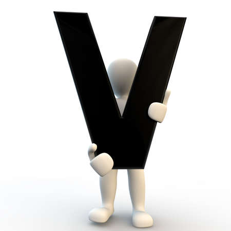 3D Human character holding black letter V, small people photo