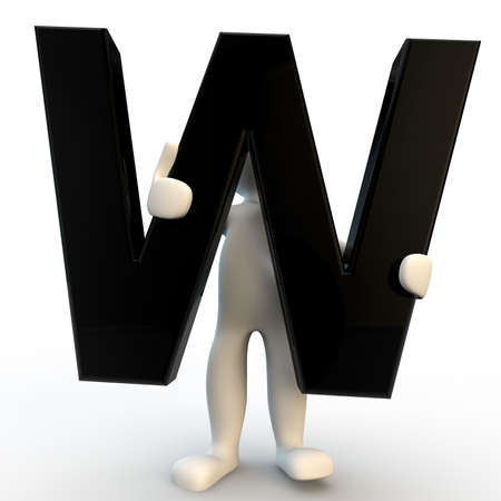 3D Human character holding black letter W, small people photo