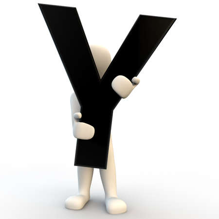 3D Human character holding black letter Y, small people photo