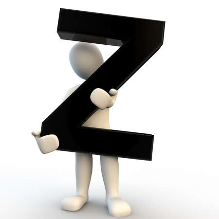 3d human: 3D Human character holding black letter Z, small people