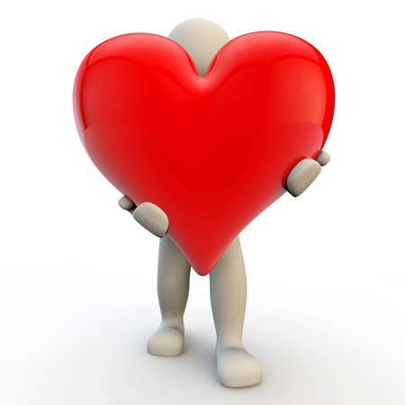 3d human character holds big red heart, 3d render photo