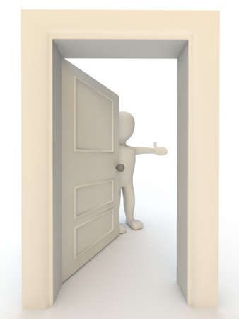 welcome door: 3d human character opening door on white background