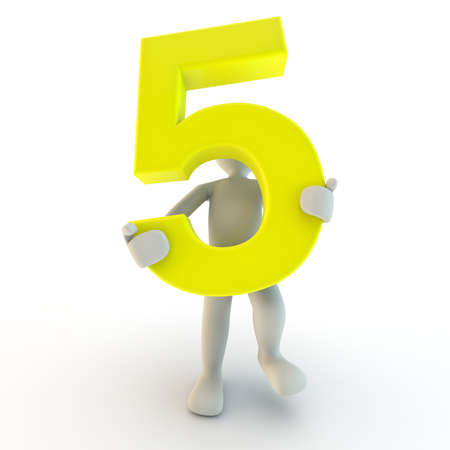 3D Human character holding yellow number five, small people