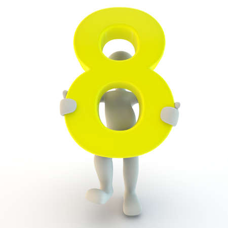 3D Human character holding yellow number eight, small people photo