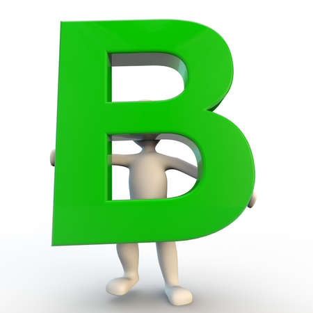 man of letters: 3D Human character holding green letter B, 3d render isolated on white