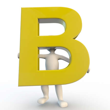 3D Human character holding yellow letter B, 3d render isolated on white photo