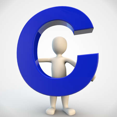 3D human character holding blue letter C, 3d render isolated on white