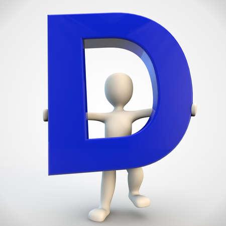 3D menselijke karakter met blauwe letter D, 3d render geïsoleerd op wit Stockfoto