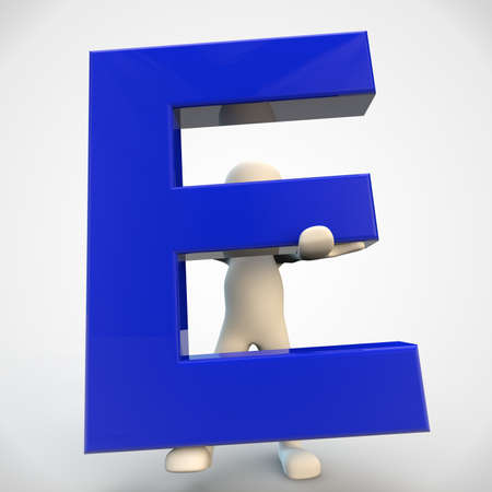 3d small people: 3D human character holding blue letter E, 3d render isolated on white