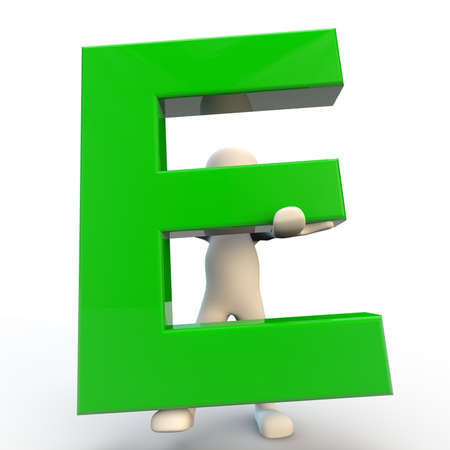 computer generated image: 3D Human character holding green letter E, 3d render isolated on white Stock Photo