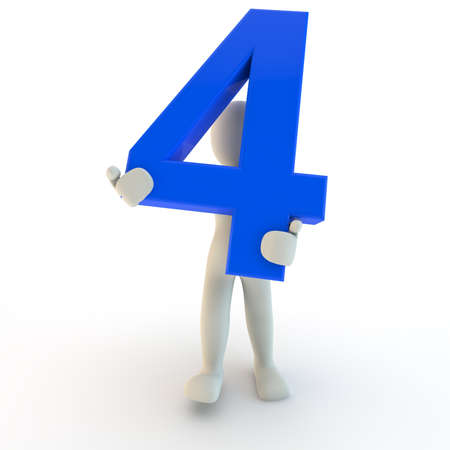 3D Human character holding blue number four, 3d render