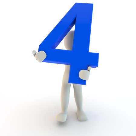 3D menselijk karakter houden blauw nummer vier, 3D render