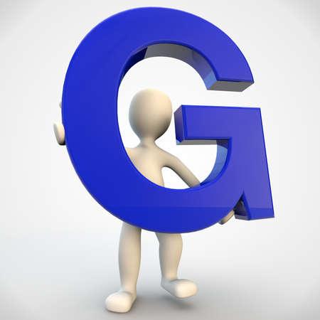 3d human: 3D car�cter humano que sostiene la carta azul G, 3D, render, aislado en blanco Foto de archivo
