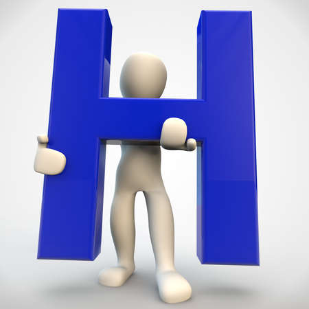 3D human character holding blue letter H, 3d render isolated on white