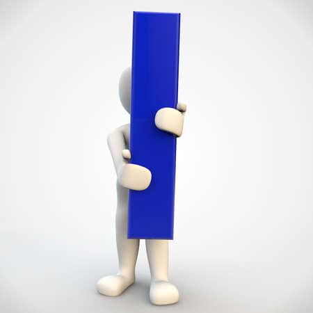 3d human: 3D car�cter humano que sostiene la carta azul I, 3d render aislado en blanco