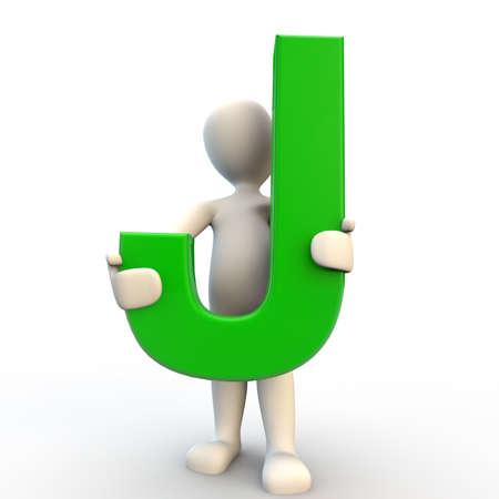 letter j: 3D human character holding green letter J, 3d render isolated on white