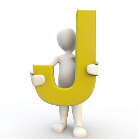 letter j: 3D Human character holding yellow letter J, 3d render isolated on white
