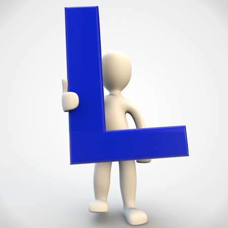 3d human: 3D human character holding blue letter L, 3d render isolated on white