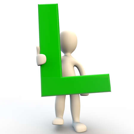 3D Human character holding green letter L, 3d render isolated on white Stock Photo - 21760931