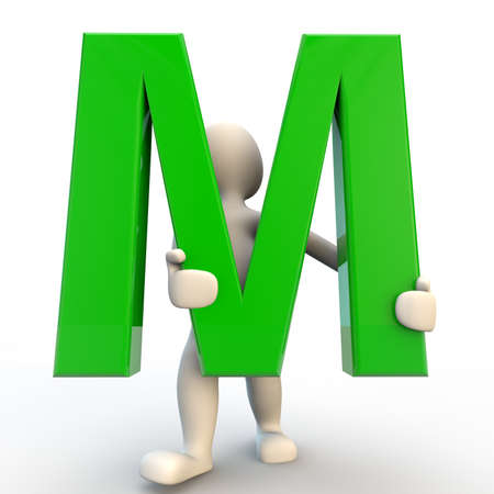 small business computer: 3D human character holding green letter M, 3d render isolated on white