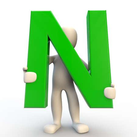 3D menselijke karakter met groene letter N, 3D render geïsoleerd op wit Stockfoto