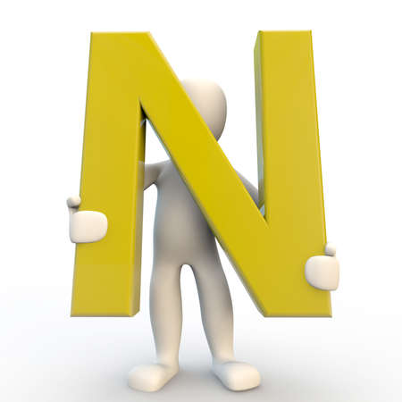 3D Human character holding yellow letter N, 3d render isolated on white Stock Photo - 21760939