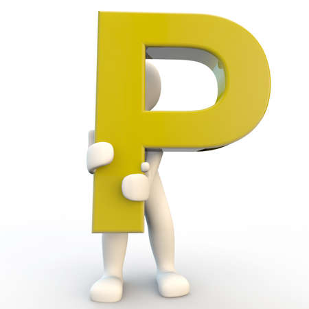 3D Human character holding yellow letter P, 3d render isolated on white