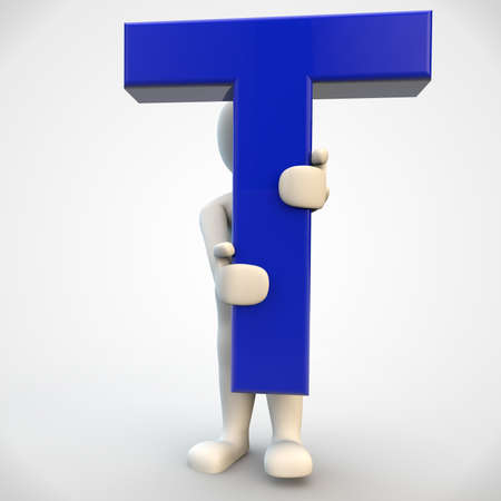 3D human character holding blue letter T, 3d render isolated on white