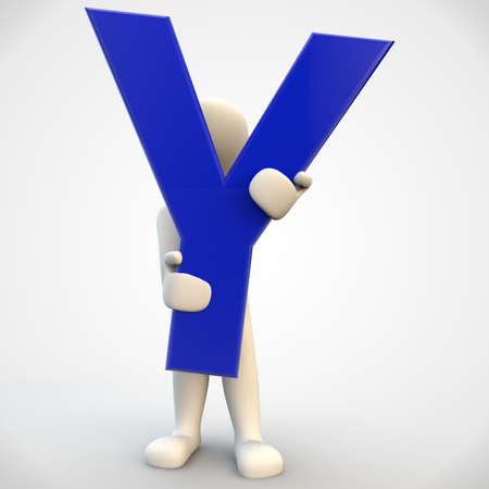 3D menselijk karakter houden blauwe brief Y, 3d render op wit wordt geïsoleerd